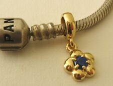 GENUINE SERENITY 9ct YELLOW GOLD CHARM BEAD SAPPHIRE DROP SEPTEMBER BIRTHSTONE