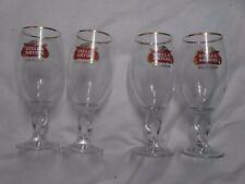 "Set of 4 Stella Artois Belgium Beer Gold Rimmed Glass 33 CL 7 1/2"""