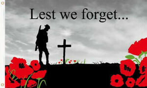 LEST WE FORGET FLAG LARGE - WW1 WW2 Poppy Remembrance VE Day Army Armed Forces