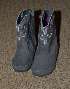 Stride Rite Lilianna Toddler 4.5 M Faux Suede Gray Silver Purple Floral Boots