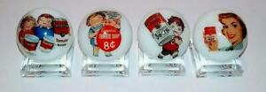 """Set of 4 Campbells Soup 1"""" Glass Logo Marble With Stands"""