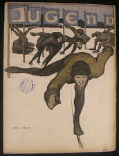 Ice Skating cover Jugend magazine 1902 issue 51 Jugendstil art