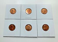 1960-D SMALL DATE UNC./ RED LINCOLN MEMORIAL CENT'S ( 6 COINS )