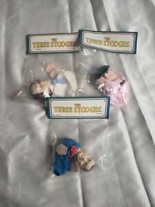 """[EXCELLENT] The Three Stooges Collectible 4"""" Finger Puppets Set Rare (1991)"""
