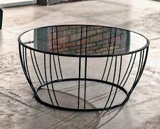 Tavolino da Salotto Grigio Vetro Metallo Marrone 8mm