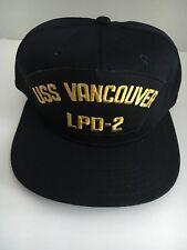 "U S NAVY CAP  ""USS VANCOUVER  "" LPD-2 Made By AJD (R-DIV) DECOM 1992"