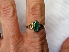 10K YELLOW GOLD CID*MARQUISE-CUT EMERALD SOLITAIRE RING~SIZE 7