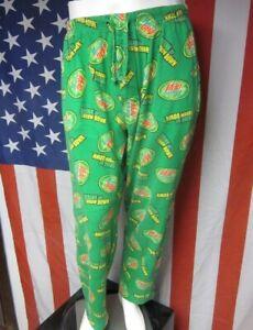 MOUNTAIN DEW soda pop med pajamas Pepsi lounge pants Drink Up Throw Down green