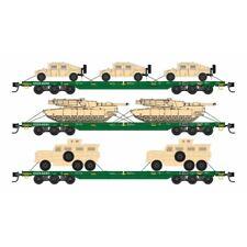 Micro-Trains N-Scale 99301613 DODX Cascade Green 3Pk W/Military Vehicles MIB/New
