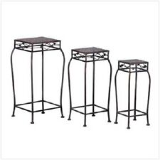 FRENCH MARKET PLANT STANDS METAL RATTAN SET OF THREE OLD WORLD ELEGANCE