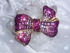 Stunning New JOAN RIVERS Rose, Purple Crystal Bow Pin / Brooch