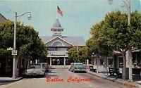 Old Chrome Postcard CA L123 Balboa Bay Pavilion Main Street 1960s Cars Trees