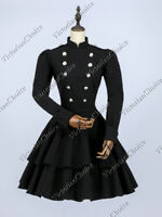 Victorian Black Mad Hatter Military Dress Theater Punk Comic Con Costume C022