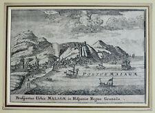 ORIG UM 1670 KUPFERSTICH HAFEN VON MALAGA SPANIEN PROSPECTUS URBIS MALAGAE
