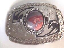 VINTAGE large belt buckle embossed silvertone & black large polished agate stone