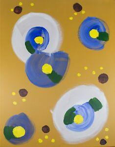 Abstract Art Canvas Acrylic Painting Modern Original Framed, Blue Yellow Study
