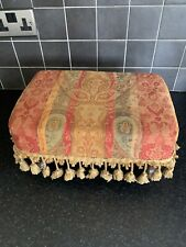 Sherborne Vintage Footstool With Tassels Bohemian Styled Floral Yellow, Red,