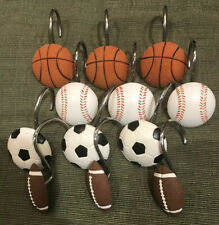 Sports Resin Shower Curtain Hooks Set of 12 Basketball football soccer baseball