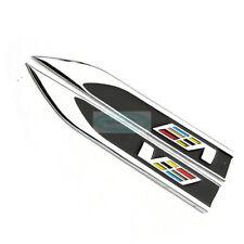 2pcs V Black Side Metal Emblem Chrome Badge Side Trunk Sticker ATS V Spprt
