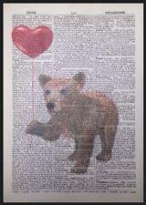 Brown baby orso vintage dizionario pagina stampa WALL ART PICTURE Carino Animale CUORE