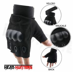 Head Hunters Motorcycle Riding Tactical Racing Gloves - BLACK (LARGE)