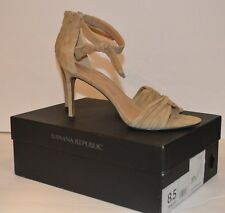 Banana Republic 8.5 Ankle Bow Nude High Heel Shoes Genuine Suede Leather