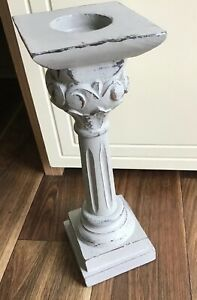 """LOVELY ELEGANT WOOD TEA LIGHT HOLDER WITH A DISTRESSED BLUE FINISH 12"""" TALL #G/C"""
