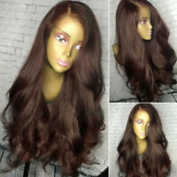 Glueless Indian Remy Human Hair Wig Curly Wave Lace Front Wigs Thick Long Brown
