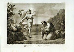 stampa antica originale sacra incisione acquaforte Apparizione angelo a Gedeone