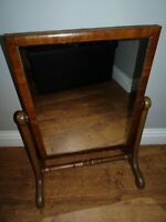 Antique Victorian Mahogany Rectangular Dressing Mirror with Adjustable Angle