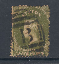 "Ceylon SG 66b used 1867 5p olive green Queen Victoria, ""B"" in grid cancel"