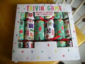 Nice family Xmas crackers trivia game, not used, six crackers.