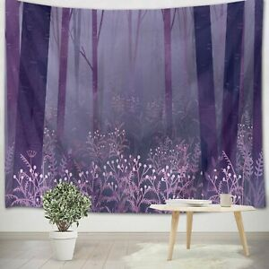 Dream Purple Forest Night Tapestry Wall Hanging For Living Room Bedroom Decor