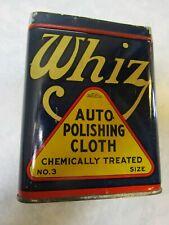 VINTAGE WHIZ AUTO DUST POLISHING CLOTH TIN CAN RED STRIPE 1930's RARE