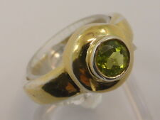 925 Solid Sterling Silver Gilt & Round Green Peridot Dress Ring size N