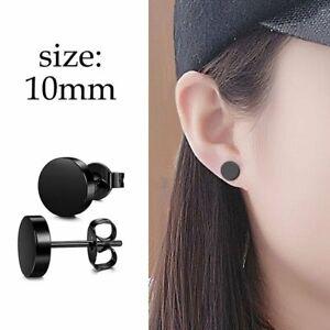 Stainless Steel Punk Black Earrings Ear Stud Geometric Unixes Party Jewelry Gift
