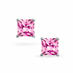 2.00 Ct Princess Cut Pink Sapphire Solitaire Stud Earrings 14k White Gold Finish