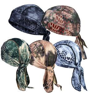 Army Camo Durag Bandana Scarf Head Fit Tie Down Pirate Cap Band Biker Hunt Hat