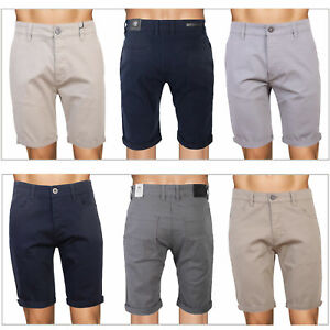 Crosshatch Mens Cotton Chino Shorts Buttoned Casual Turn Up Knee Length Bottoms