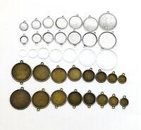 Round Pendant Base Tray 10-25mm Cabochon Setting Bezel Pendant Blanks+glass 2#