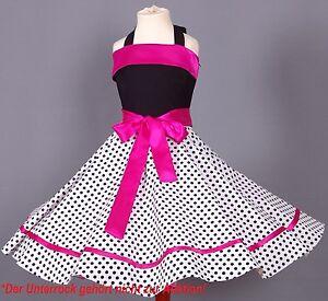 Mädchen 50-er Jahre Petticoat, Tanz,Einschulung Kleid Gr. 104-154 Schwarz/weiß