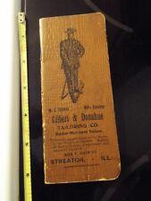 Vintage Gilbert & Donahue Tailoring Streator Illinois Used Notebook 1900 Census
