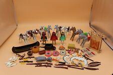 Playmobil Lot of Native Americans Canoe Weaving frame headdresses shields doll