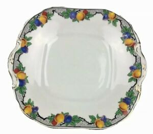 Shabby vintage British Anchor china cake plate Winter Stone Fruits England