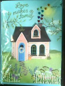 """Papyrus  Mother's Day card- Love Makes a Family - House with Heart Gem """"Smoke"""""""