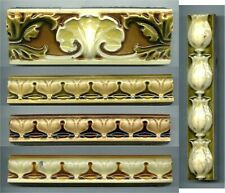 """5 High relief moulded 6""""x2"""" & 6""""x1"""" Majolica border tiles by Maw & Co, c1895"""