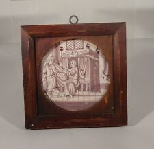 Antique Manganese Delft Tile Potiphir's Wife 18th Century Dutch English French