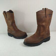 Wolverine Men's W04727 Brown Leather Work Boot Slip/Oil Resistant Sz 8Ew