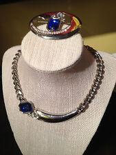 Exquisite Vintage Park Lane Blue & White Rhinestones & Silver Tone Mtl Parure