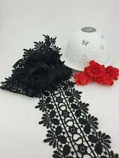 Black Guipure Lace Trim Width 3.5 inch 9cm 90mm Premium Quality Double Edge 9005